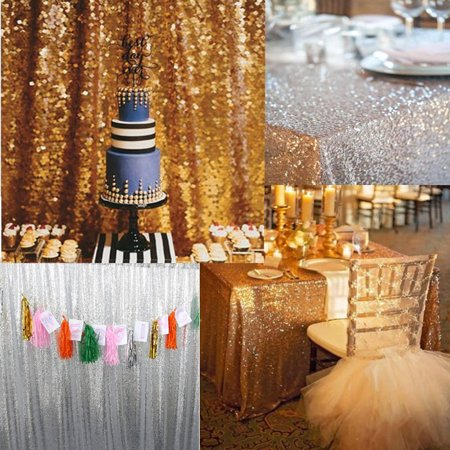 Moaere 8ftx8ft Gold Rectangle Tablecloth Silver Sequin Backdrops Photo Party Wedding Backdrop - Sequin Tablecloths