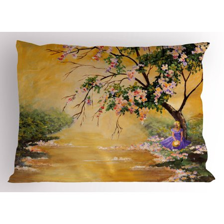 Landscape Pillow Sham Oil Painting Acrylic Like Image Flower Petal Falls Down Near River with Girl Art, Decorative Standard Size Printed Pillowcase, 26 X 20 Inches, Multicolor, by (Standard Sizes Of Frames For Oil Paintings)