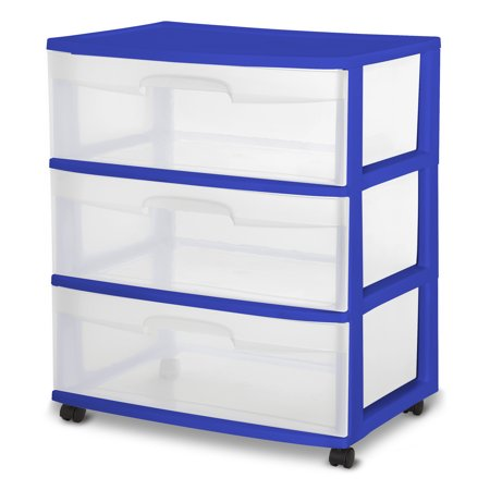 Sterilite 3 Drawer Wide Cart, Cobalt Crush, Single - Cheap Store
