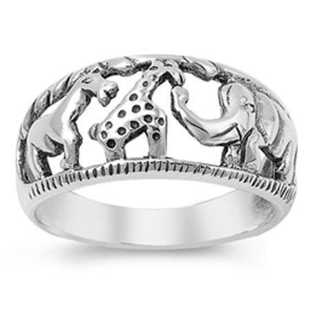 Elephant Giraffe African Animal Savanna Ring ( Sizes 4 5 6 7 8 9 10 11 12 ) 925 Sterling Silver Band Rings by Sac Silver (Size 5) ()