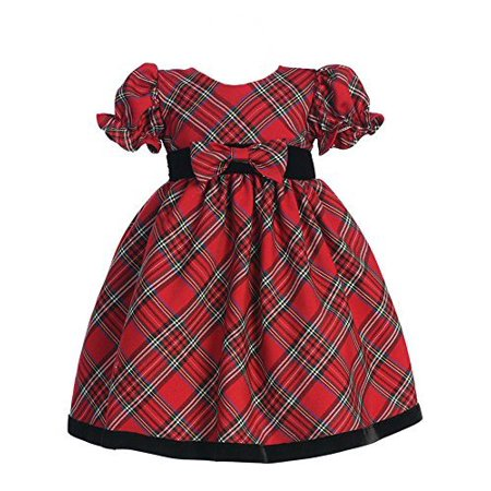 lito Girls Plaid Holiday Dress with Velvet Trim (18 - 24 months Red) - image 1 de 1
