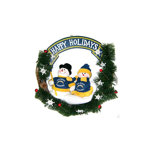 San Diego Chargers Official NFL Team Snowman Wreath by SC Sports 042020