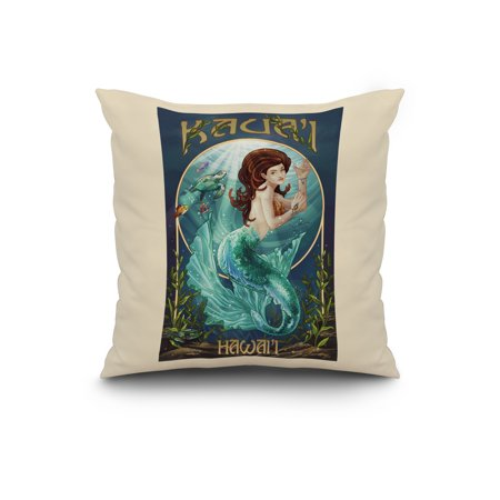 Mermaid Kaua i Hawai i Lantern Press Poster 20x20 Spun Polyester Pillo