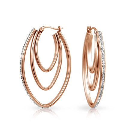 Large Oval Triple Hoop Earrings For Women Prom Party Pave Crystal Rose Gold Plated Stainless Steel 2 (9 Silver Tone Crystal)