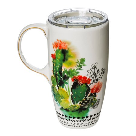 Ceramic Latte Travel Cup w/ Tritan Lid and metallic accents, 17 OZ, Watercolor Cactus