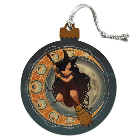 Witch on Broom over Moon Art Nouveau Style Wood Christmas Tree Holiday Ornament ()