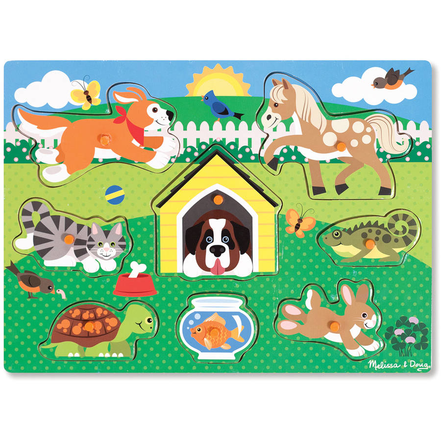 Melissa & Doug Pets Wooden Peg Puzzle (8 pcs) by Generic