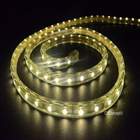 120v Led Rope Light (CBConcept UL Listed, 10 Feet, 1080 Lumen, 3000K Warm White, Dimmable, 110-120V AC Flexible Flat LED Strip Rope Light, 180 Units 3528 SMD LEDs, Indoor/Outdoor Use, Accessories Included, [Ready to use] )