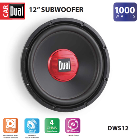 Dual Electronics DWS12 12-inch High Performance Subwoofer with a 2-inch Single Voice Coil and 1,000 Watts of Peak Power 10 Inch Dual Speaker Box