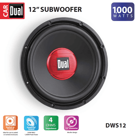 Dual Electronics DWS12 12-inch High Performance Subwoofer with a 2-inch Single Voice Coil and 1,000 Watts of Peak Power (12 inch slim subwoofer box)