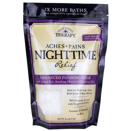 Village Naturals Therapy Aches & Pains Nighttime Relief Foaming Bath Soak, Lavender & Chamomile, 36 Oz