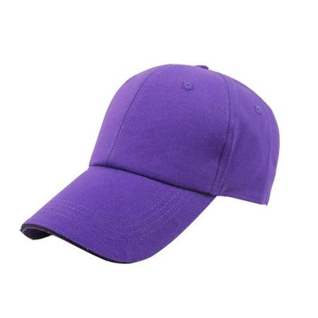 Pro Space Cotton Adjustable Flat Caps Work Hat Baseball Unisex Plain Hat (Purple)
