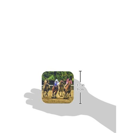 3dRose Horses and jockeys racing to finish line, mud flying, Soft Coasters, set of 8