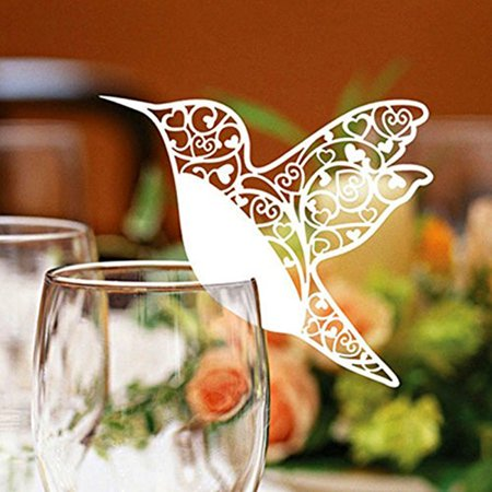 Wedding Name Cards (50pcs Love Bird Table Mark Wine Glass Name Place Card Wedding Party)