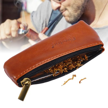 Knifun Portable Zippered PU Leather Pouch Bag Case Holder for Preserving Tobacco & Smoking Pipe, Smoking Tobacco Pouch, Pipe Tobacco Pouch