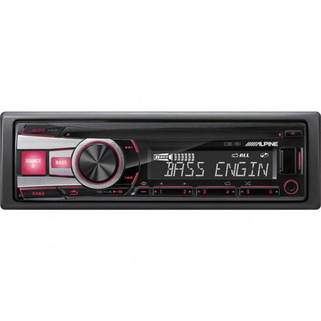 Alpine CDE-151 Single Din Car Stereo w  Aux Input and USB by