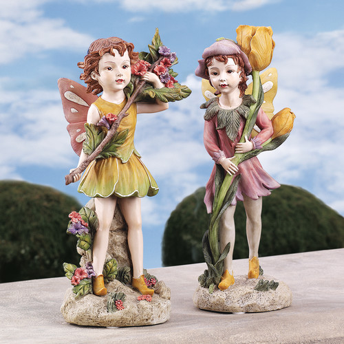 Design Toscano Meadow Fairy and Meadow Pixie Garden Statue by Design Toscano