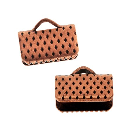 (Flat Crimp Ends, Extra Deep Crosshatch Cord Ends 10x7.6mm, 20 Pieces, Antiqued Copper Plated)