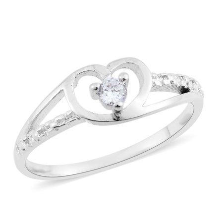 - Women's Girls White Cubic Zirconia CZ Platinum Bond Heart Split Ring Cttw 0.1