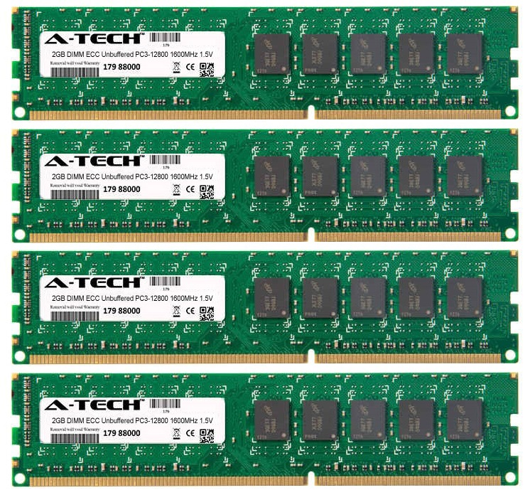8GB Kit 4x 2GB Modules PC3-12800 1600MHz 1.5V ECC Unbuffered DDR3 DIMM Server 240-pin Memory Ram