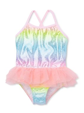 Wonder Nation Baby Toddler Girl Mermaid One-Piece Tutu Swimsuit