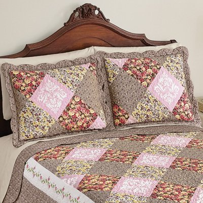 - Collections Etc Clara Floral Patchwork Pillow Sham, Diamond Patches with Quilted Stitching