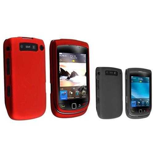 INSTEN Red+Black Rubber Hard Case Skin For Blackberry Torch 9800 9810
