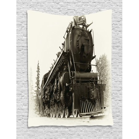 Canadian Pacific Steam Engine - Steam Engine Tapestry, Antique Northern Express Train Canada Railways Photo Freight Machine Print, Wall Hanging for Bedroom Living Room Dorm Decor, 40W X 60L Inches, Black Grey, by Ambesonne