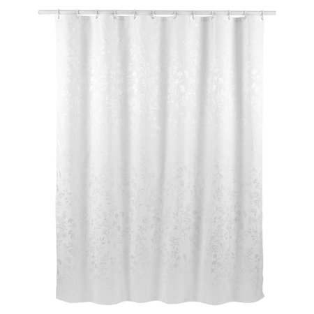 Solid Color Polyester Fabric Shower Curtains With Hooks White 72 X 78 Inch