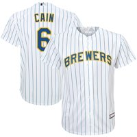 Lorenzo Cain Milwaukee Brewers Majestic Youth Home Replica Player Jersey - White/Royal