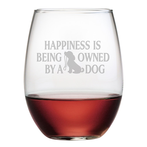 Susquehanna Glass Owned by a Dog 21 Oz. Stemless Wine Glass (Set of 4)