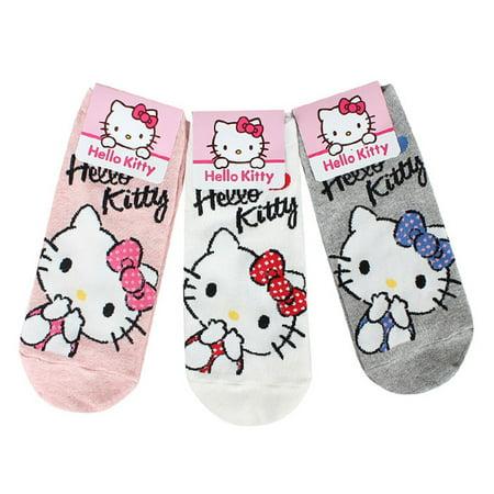 9652cc33b YoCaps Inc - 3 Pairs Set Hello Kitty Socks Womens Casual Socks Low cut  Ankle Socks - Walmart.com