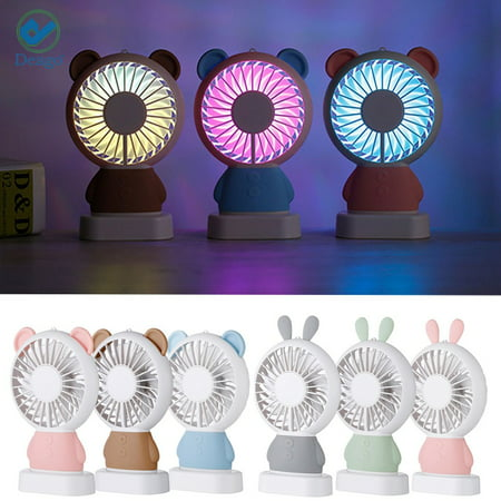 Deago Portable Mini Handheld Fan Colorful LED Light Fan Electric Desk Table Fan Lovely Bear Cooler USB Rechargeable