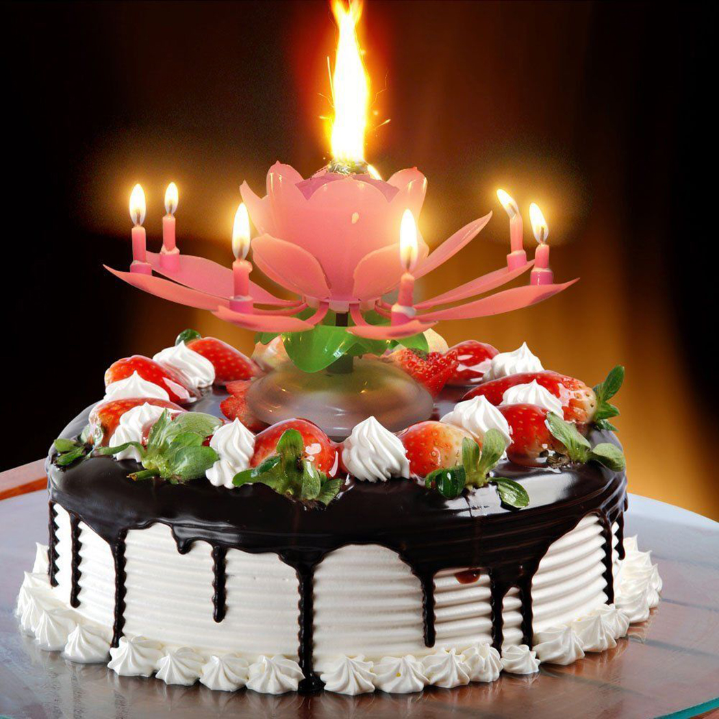 Birthday Candles 3pcs Pink Lotus Flower Play Happy To You Music With Rotation Function