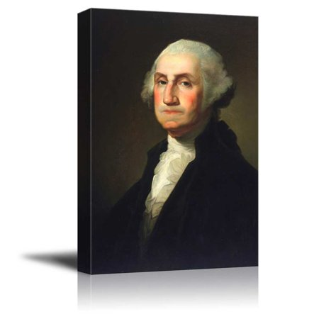 - wall26 - Portrait of George Washington by Gilbert Stuart (1st President of the United States) - American Presidents Series - Canvas Wall Art Gallery Wrap Ready to Hang - 12x18 inches