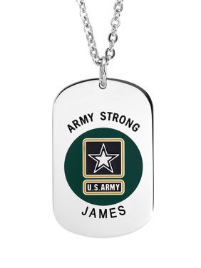 Stainless Steel Personalized Military Army Insignia Dog Tag with an 18 inch Link Chain