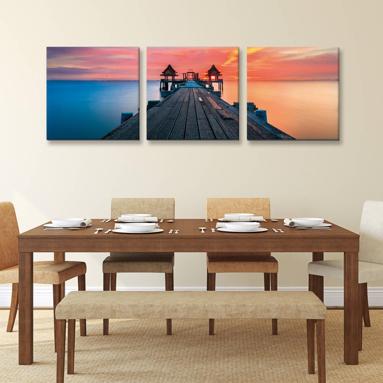 "Furinno SENIC Sunrise Pier 3-Panel Canvas on Wood Frame, 60"" x 20"" F105SP50"