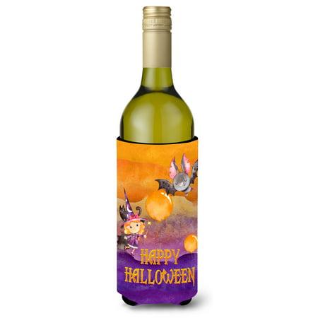 Halloween Little Witch and Bat Wine Bottle Beverge Insulator Hugger BB7458LITERK](Wine Bottle Halloween Crafts)