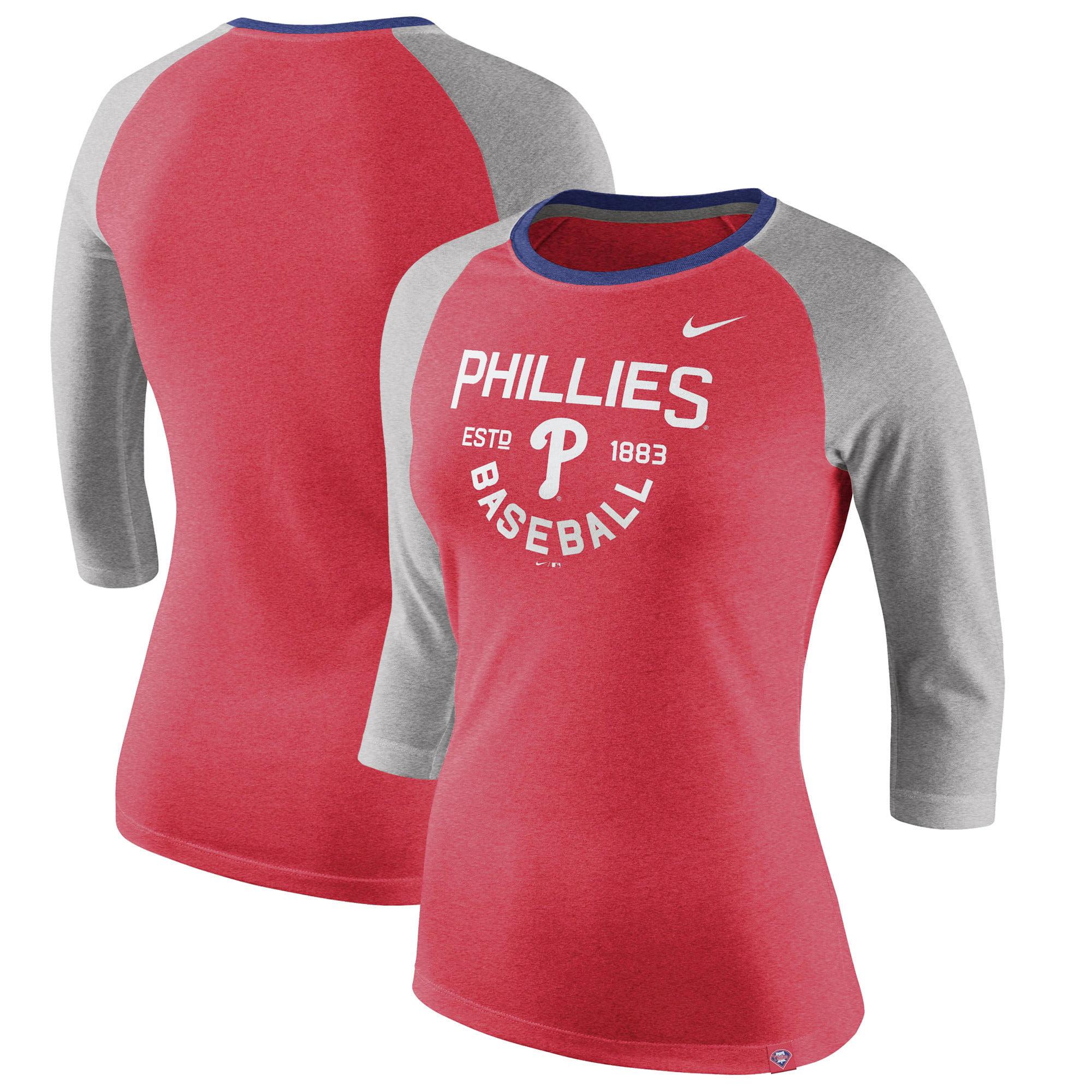 Philadelphia Phillies Nike Women's Tri-Blend Raglan 3/4-Sleeve T-Shirt - Heathered Red