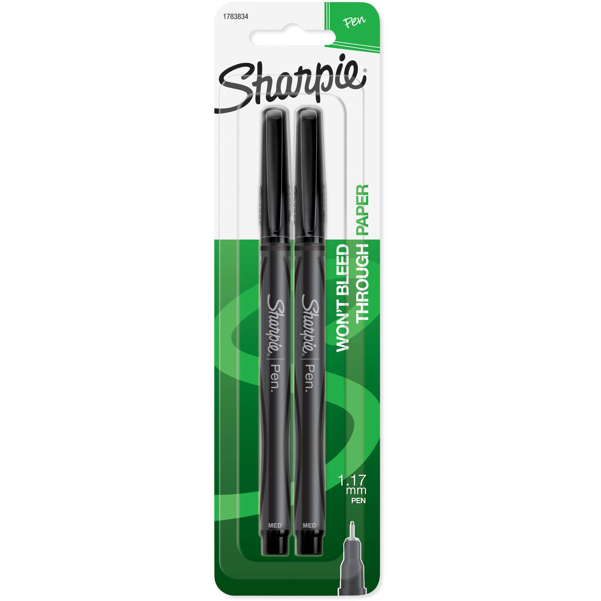 Sharpie Pen Porous Point Pens, Medium Point, Black Ink, 2pk