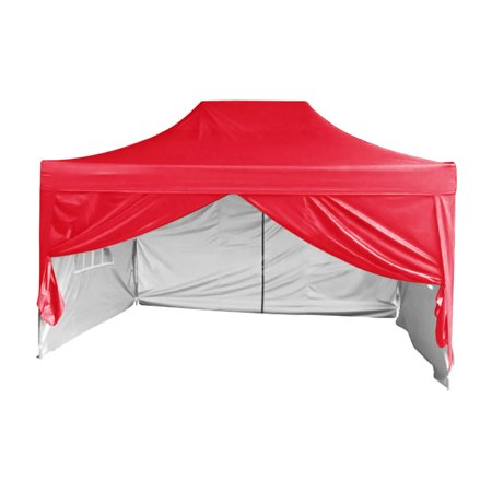 Quictent 10x15 EZ Pop Up Canopy Tent Instant Party Tent with Sidewalls Waterproof (Red)