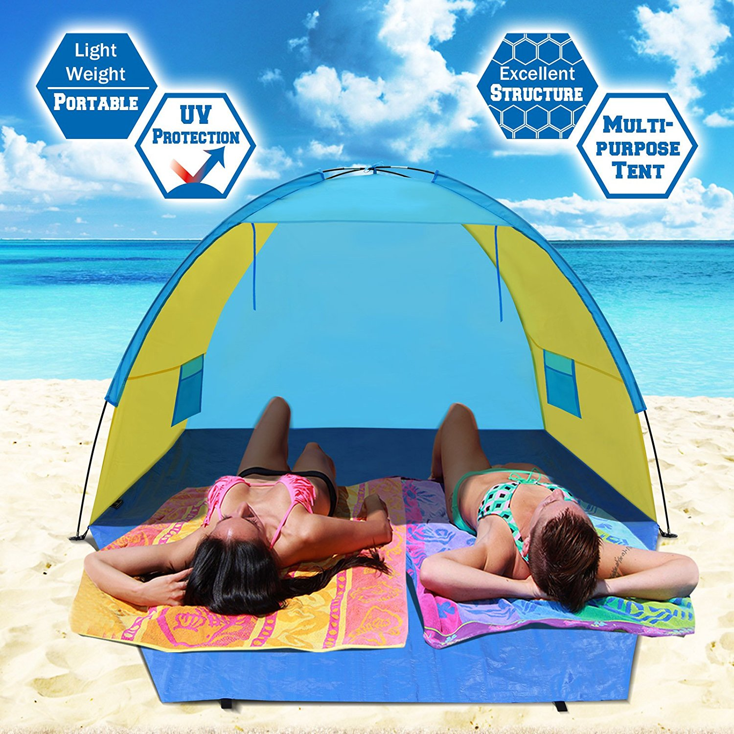 Sunrise Portable Pop Up Beach Shelter, Camping Tent, Sunshade Outdoor Canopy, Light Blue and Yellow, W/Carry Bag