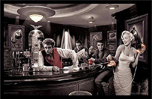 Framed Java Dreams With James Dean Marilyn Monroe Elvis Presley And Humphrey Bogart By Chris Consani