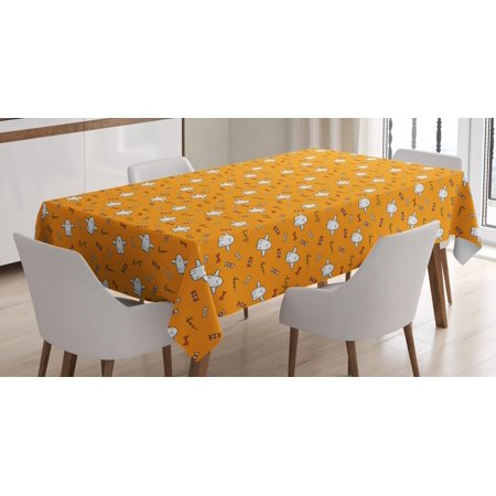 Ghost Tablecloth, Halloween Pattern with Hand-drawn Ghosts Sweets Bones Hey and Boo Scare Expressions, Rectangular Table Cover for Dining Room Kitchen, 60 X 84 Inches, Multicolor, by Ambesonne (My Halloween Sweets)