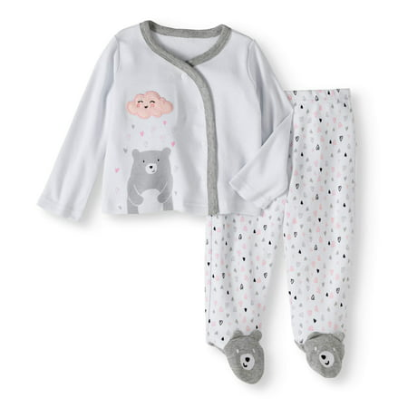 Quiltex Newborn Baby Girl's Bear Kimono and Footed Pants 2pc Outfit Set
