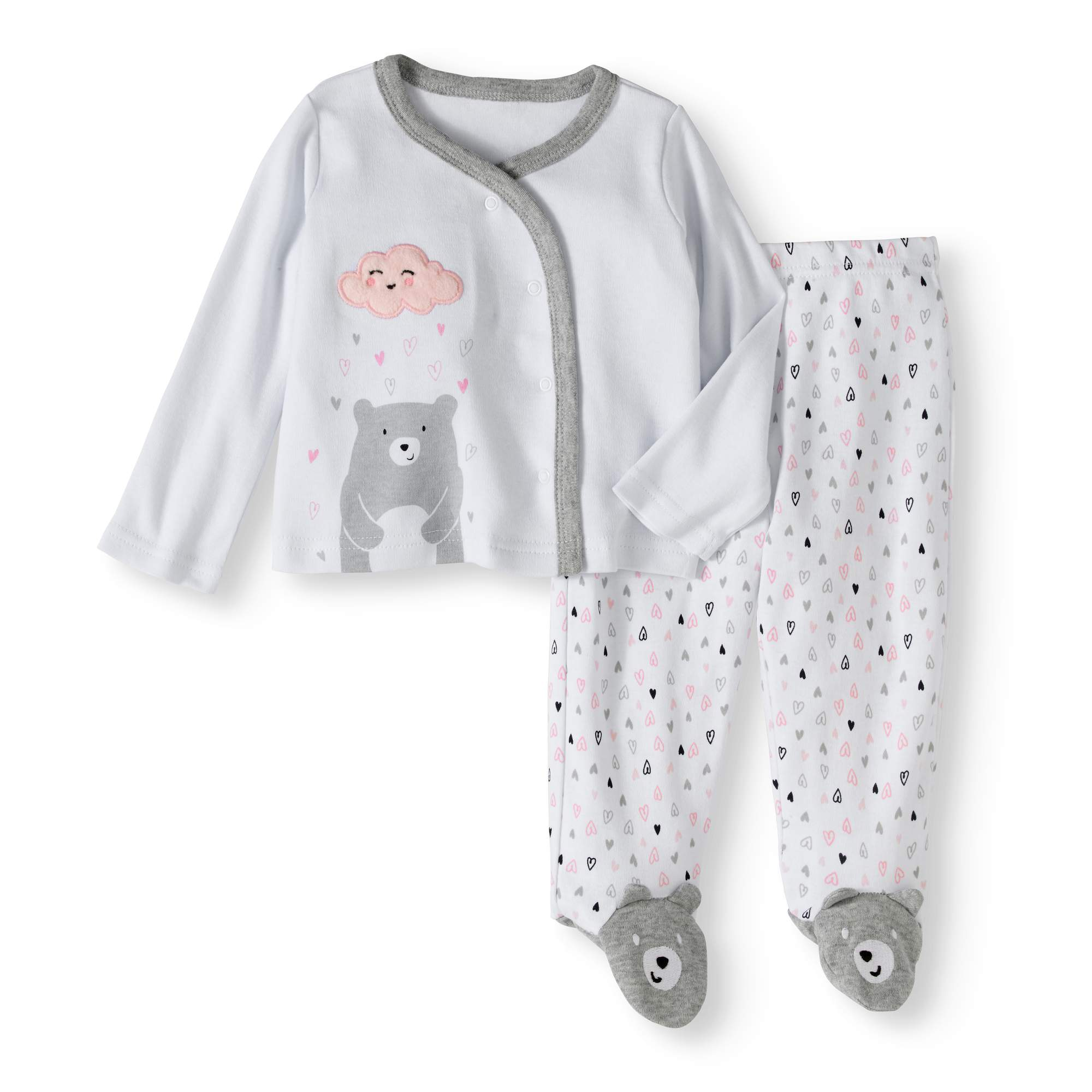 Newborn Baby Girls' Bear Kimono and Footed Pants 2-Piece Outfit Set