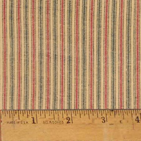 Cranberry Christmas Stripe Homespun Cotton Fabric - Sold by the Yard - JCS (Abc Christmas Fabric)