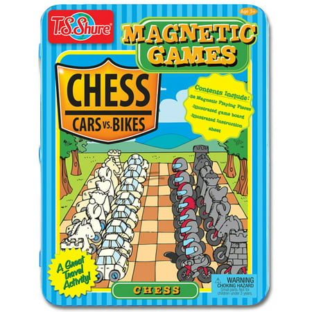 T.S. Shure Chess Magnetic Game Tin – Cars vs. Bikes Theme - Beach Themed Games