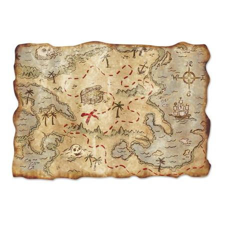 Club Pack of 12 Nautical Themed Jumbo Pirate Treasure Map Cutout Decorations 34.5