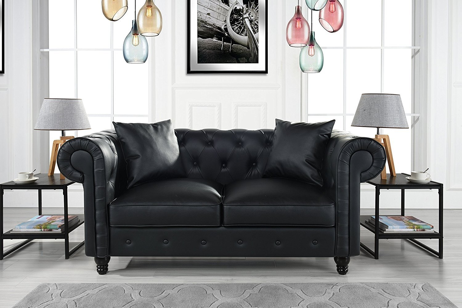 Divano Roma Furniture Classic Living Room Bonded Leather Scroll Arm Chesterfield Loveseat (Black) by Divano Roma Furniture